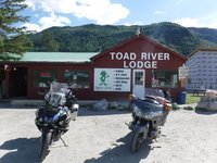 2018 Alaska MC trip 023_Toad River with bikes and Penguin.JPG