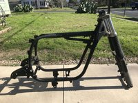1986 BMW r100s frame with front forks and title IMG_8979.JPG