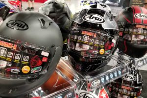 Aria Defiant-X helmets on display at AIMExpo 2018
