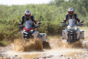 Getting wet on the 2019 Ducati Multistrada 1260 Enduro -- photo courtesy of Ducati