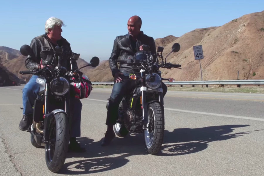 Jay Leno on the Husqvarna Vitpilen 701 -- image courtesy of Jay Leno's Garage
