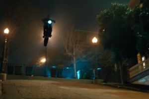 A flying Ducati Scrambler in Venom -- image courtesy of Ducati and Sony Pictures