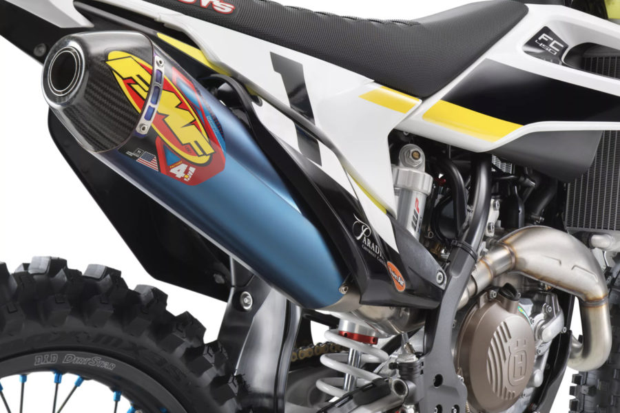 Shorter blue titanium exhaust on the Husqvarna FC 450 Rockstar Edition -- photo courtesy Husqvarna