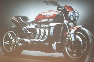 Leaked image from dealer meeting of Triumph Rocket III -- source unknown (Triumph, maybe?)