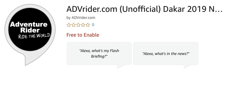 I am excited to announce ADVrider is now on Amazon Alexa. During the Dakar […]