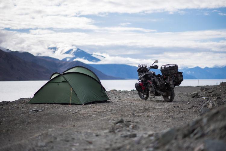 Wild camping at Pangong Lake, india
