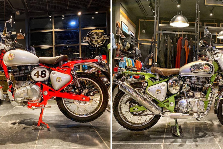 The 350 (R) and the 500 (L) versions of Royal Enfield's new scrambler. Photo: Royal Enfield Company Store, Bengaluru/Facebook