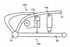 This drawing shows the fluid filled cylinder connecting to the suspension and an actuator.