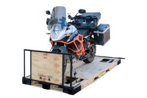 A palletized motorcycle ready for shipping.  Photo credit: Motorcycle Shippers