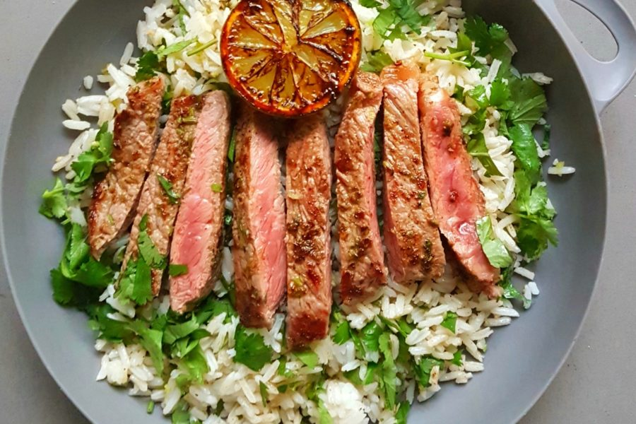 Cuban style steak with green rice Photo @kylie.d