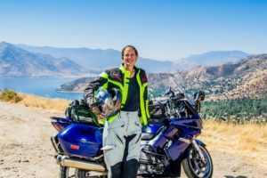 Wendy Crockett and her 2005 Yamaha FJR 1300. Photo credit: Wendy Crockett