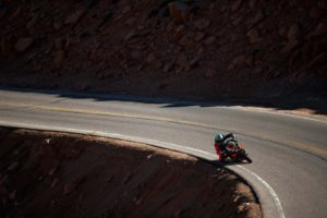 No run-off, not even a guard rail: it's easy to see why Pikes Peak is a dangerous place to race. Photo: Larry Chen/Aprilia