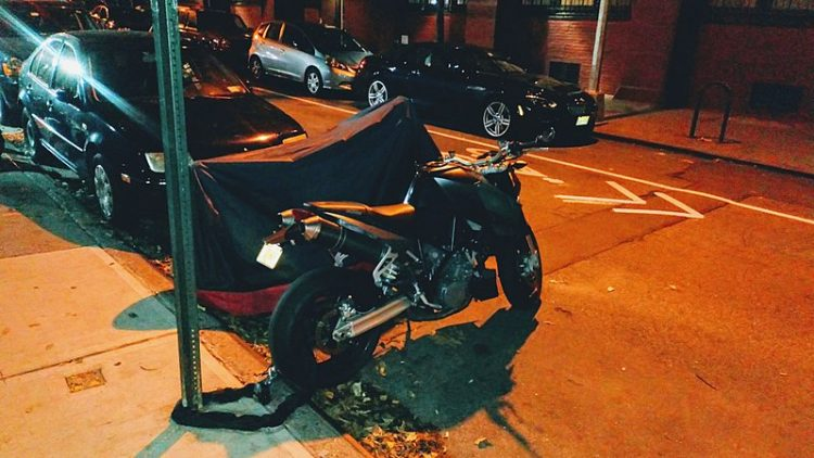 Motorcycle parked and locked