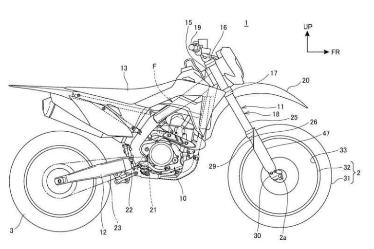 Honda's new suspension system is depicted as fitted to a CRF450L. Photo: MoreBikes