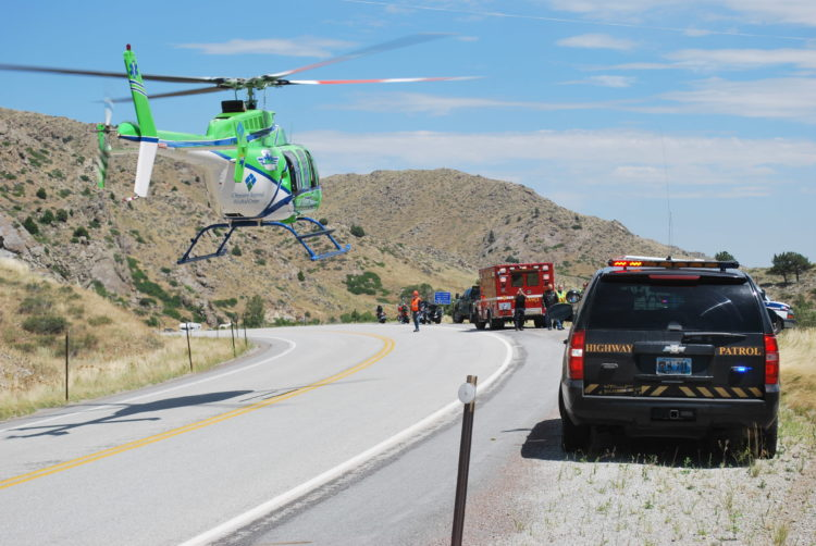 Motorcycle crash helicopter