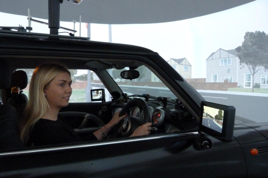 The driving simulator tracked where test subjects' eyes were looking, and what threats they forgot. Photo: University of Nottingham