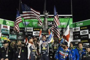 The ISDE podium sees a happy American team. Photo: Dario Agrati/FIM