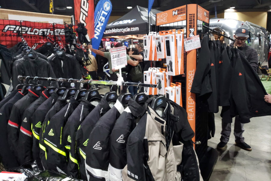The Fieldsheer booth was crammed full of protective gear, with heated vests and gloves off to the side. Photo: Zac Kurylyk