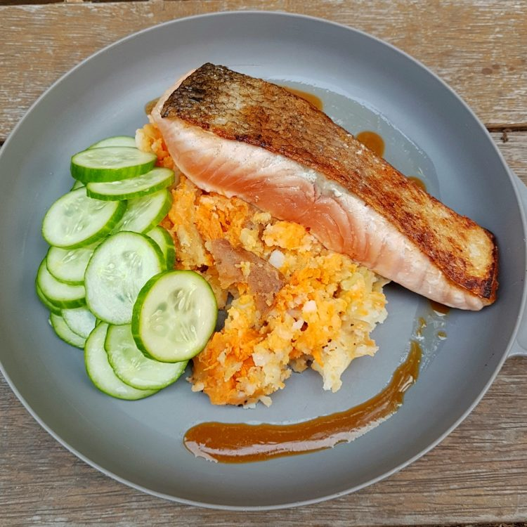 Miso Salmon with Smashed Potatoes. Photo @Kylie Day