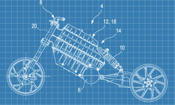 BMW Electric motorcycle patent drawing