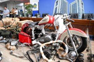 Askhara smuggling motorcycle