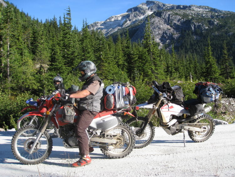Fully loaded and on a journey a few years back. North of Harrison Lake, British Columbia.