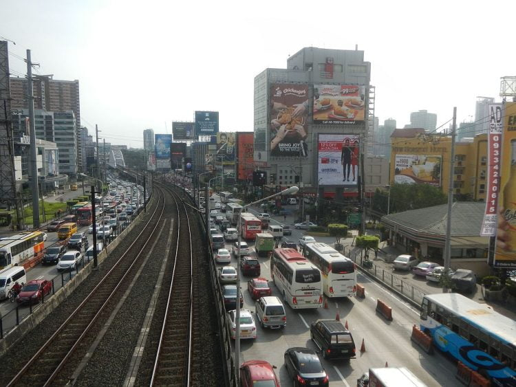 Manilla Philippines EDSA dedicated motorcycle lane