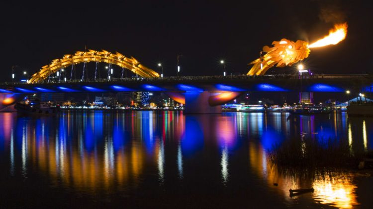 The Dragon Bridge breathing fire. (Source:cnn.com)