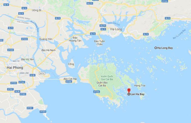Location of Lan Ha Bay, Ha Long Bay, Cat Ba Island, and Hai Phong (Source: Google Maps)