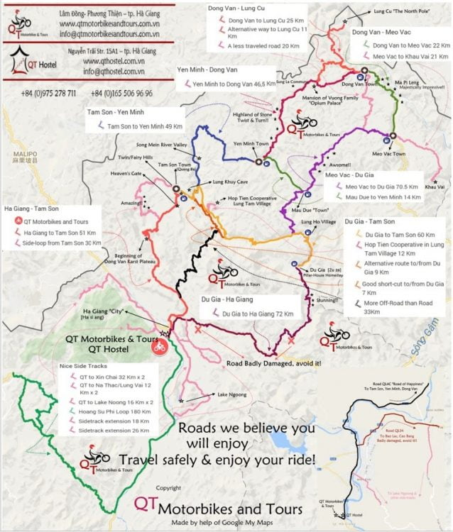 This is the best map that I found of the Ha Giang loop. (Source: qtmotorbikesandtours.com.vn)