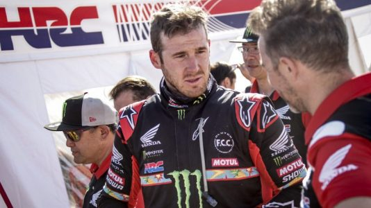 Ricky Brabec is the winner of the 2020 Dakar bikes category. Photo: Honda