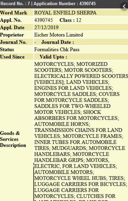 Royal Enfield Trademark Application
