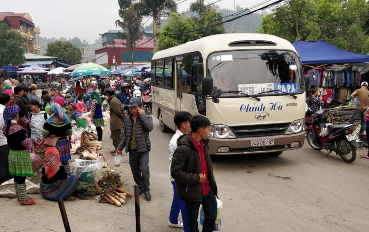 This is what it Death-by-Tourism looks like: It arrives in a Twinkie shaped Hyundai bus from Sapa. (Source: Lost Cartographer)