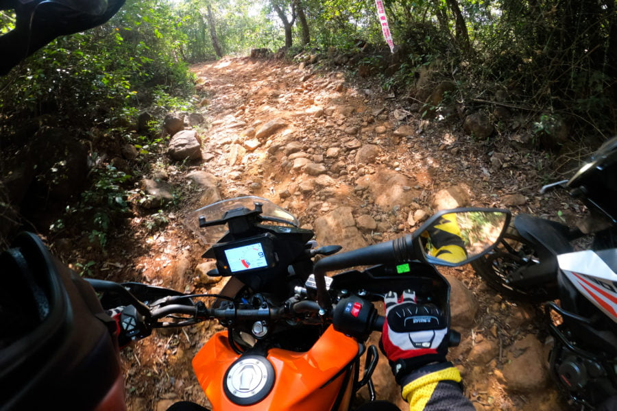 Lead photo: Superstar moto-journalist Vir Nakai (@virnakai) attacks a rocky uphill section on the off road route.