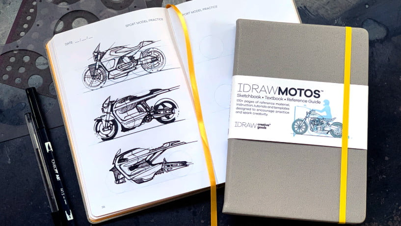 Learn how to draw motorcycles with this new notepad. Photo: Kickstarter