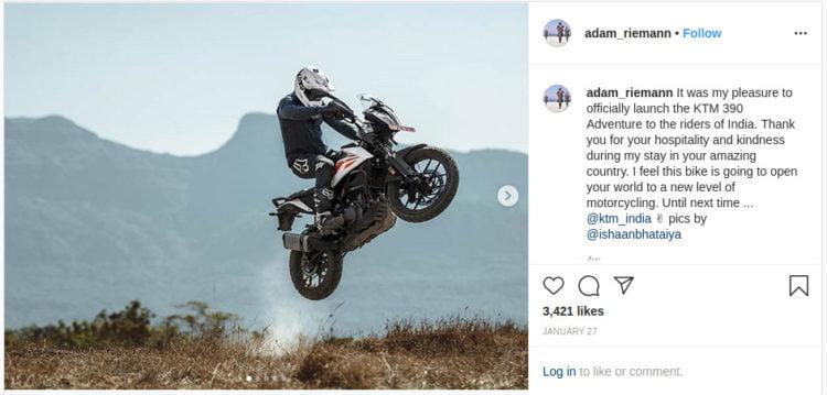 Adam Riemann jumping the KTM 390 Adventure