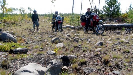 Disgruntled riders searching for a route to Enterprise, British Columbia.