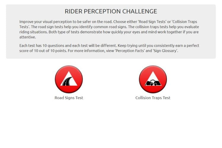 Landing page MSF Rider Perception Challenge