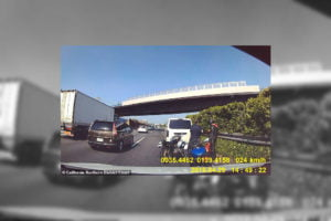 Footage from the Tesla's dash cam just before the crash. Photo: California District Court