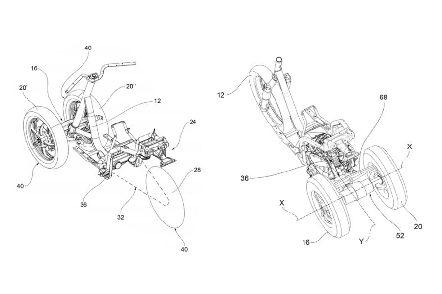 piaggio leaning three wheeler patents