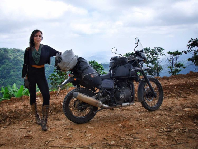 A Motogypsy and her fully packed Himalayan above La Victoria Coffee plantation on roads toward El Dorado. -Janelle Kazrado.Janelle Kaz