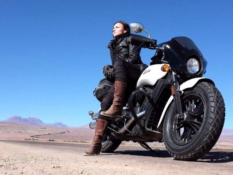 Author with her Indian Scout Sixty in the Salar de Atacama of the Los Flamencos National Reserve. -Janelle Kaz