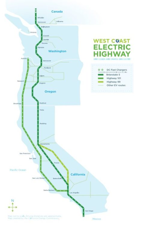 map west coast electric highway