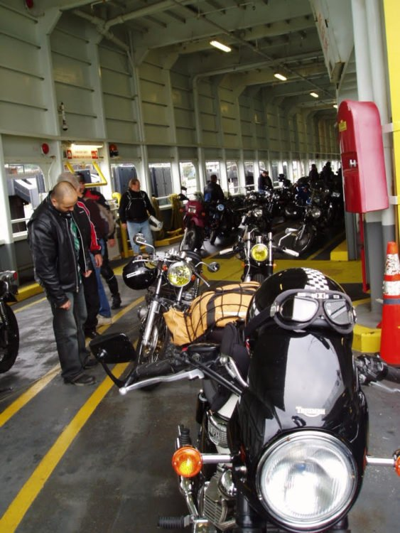 Strangers' bikes on a Puget Sound ferry
