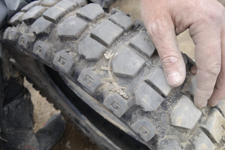 2016: Peru, South America 16000ft altitude stitching my damaged tyre.