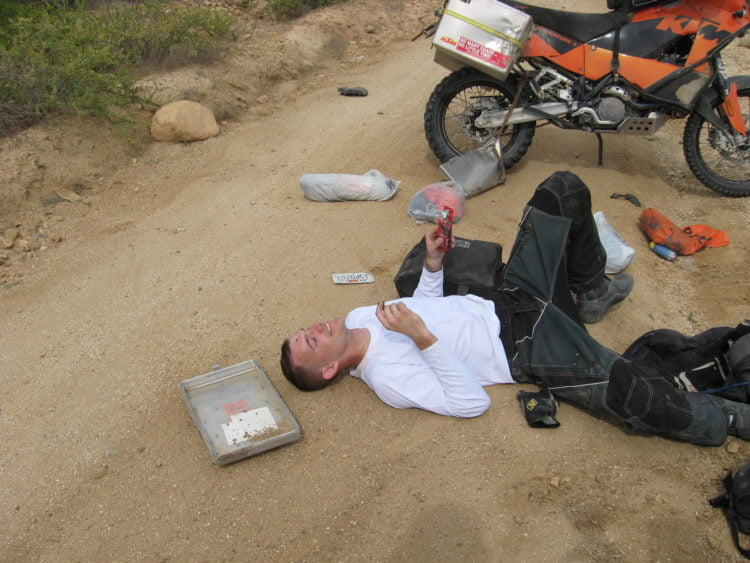 2007 – Wrecked Boxes and stuff strewn all over the road after a crash pre-running the Baja 1000.